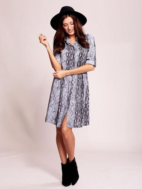 Niebiesko-czarna wzorzysta sukienka z kołnierzykiem                              zdj.                              4
