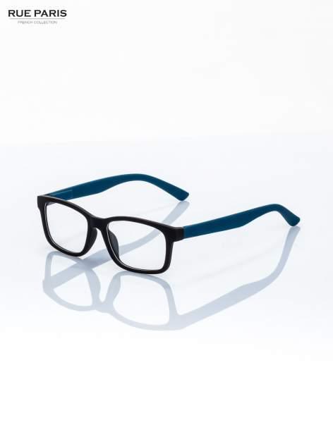Niebiesko-czarne okulary zerówki kujonki typu WAYFARER NERDY matowe                                  zdj.                                  2