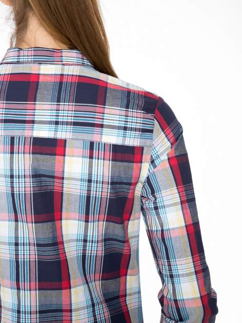Niebiesko-czerwona koszula w kratę z kieszeniami                                  zdj.                                  9