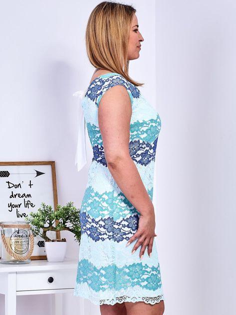 Niebiesko-zielona koronkowa sukienka PLUS SIZE                              zdj.                              5