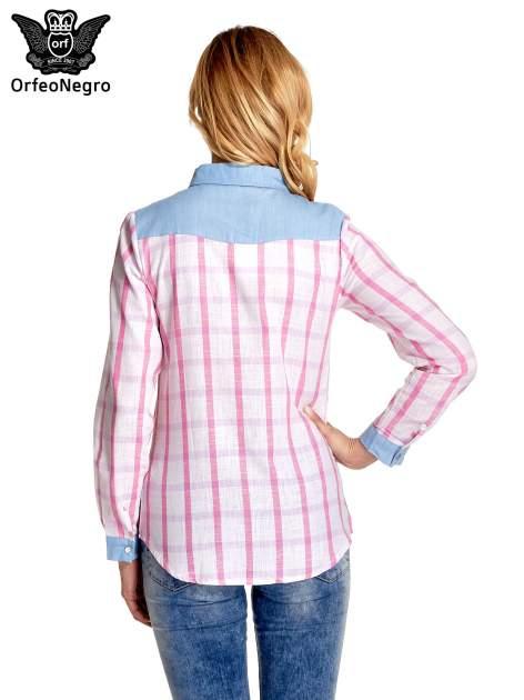 Niebieskoróżowa koszula w kratę z biżuteryjnym kołnierzykiem                                  zdj.                                  4
