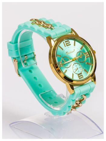 Nowoczesny damski zegarek z łańcuszkiem i ozdobnym chronografem na wygodnym silikonowym pasku                                  zdj.                                  3