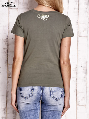 O'NEILL Khaki t-shirt z błyszczącym nadrukiem