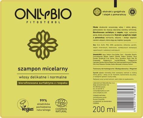 ONLYBIO Szampon micelarny do włosów delikatnych i normalnych 200 ml                              zdj.                              2