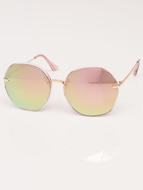 MANINA Okulary przeciwsłoneczne damskie złote szkło różowo-zielone lustrzanka                              zdj.                              2