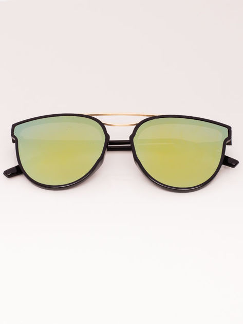 Okulary przeciwsłoneczne damskie Lustrzanki czarne Szkło bursztynowo-zielone