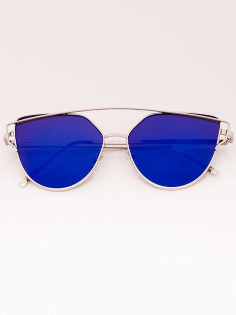 Okulary przeciwsłoneczne damskie lustrzanki srebrne Szkło niebieskie