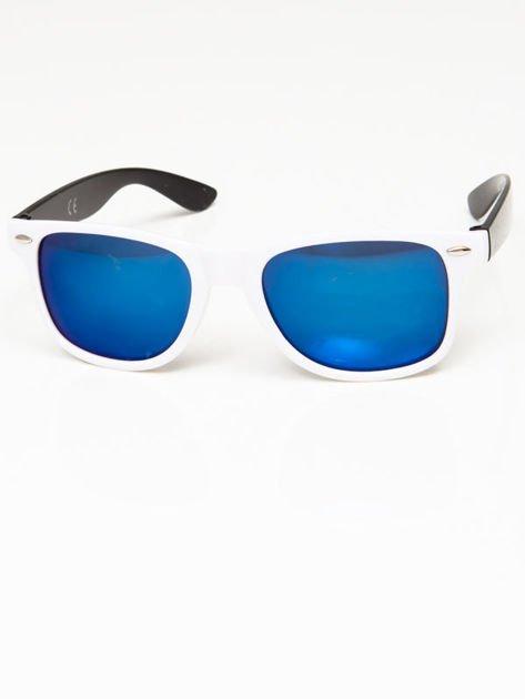Okulary przeciwsłoneczne w stylu WAYFARER biało-czarne lustrzanki błękitne                              zdj.                              1