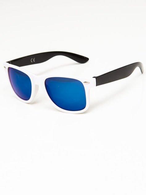 Okulary przeciwsłoneczne w stylu WAYFARER biało-czarne lustrzanki błękitne                              zdj.                              2