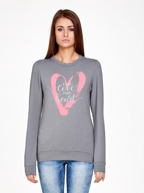 Oliwkowa bluza z napisem ONE LOVE ONE HEART