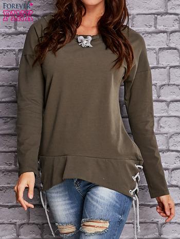 Oliwkowa bluza z wiązaniami                                   zdj.                                  1