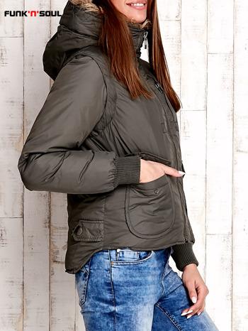 Oliwkowa kurtka z odpinanymi rękawami FUNK N SOUL                              zdj.                              3