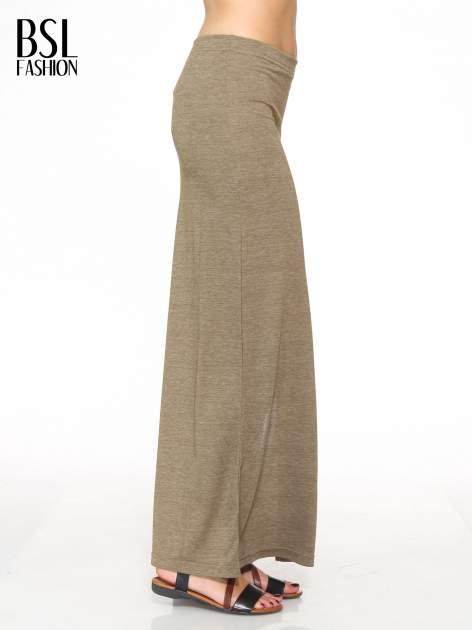 Oliwkowa melanżowa spódnica maxi z rozcięciem                                  zdj.                                  3