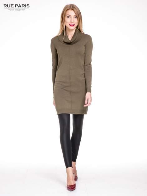 Oliwkowa swetrowa sukienka z golfem                                  zdj.                                  2
