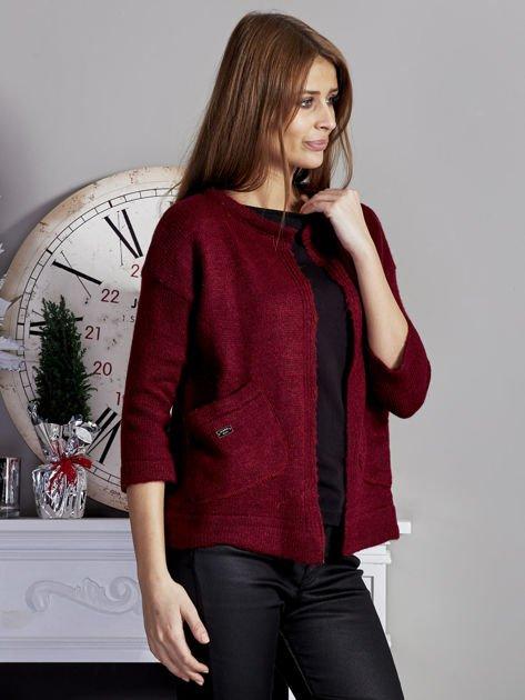 Otwarty sweter z kieszeniami bordowy                              zdj.                              5
