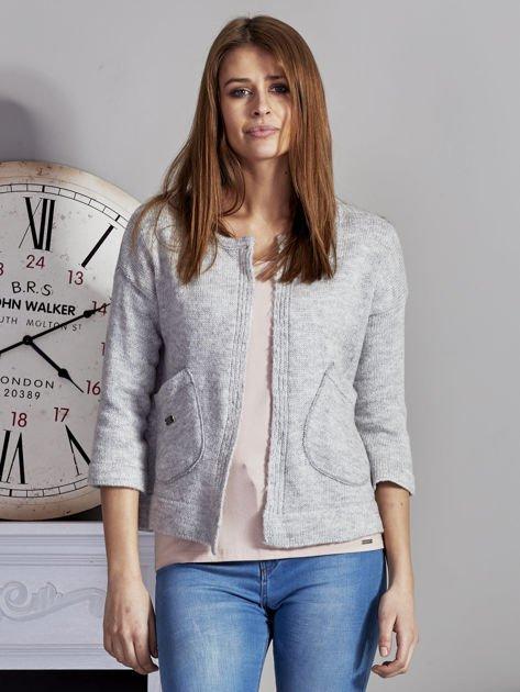Otwarty sweter z kieszeniami szary                              zdj.                              1