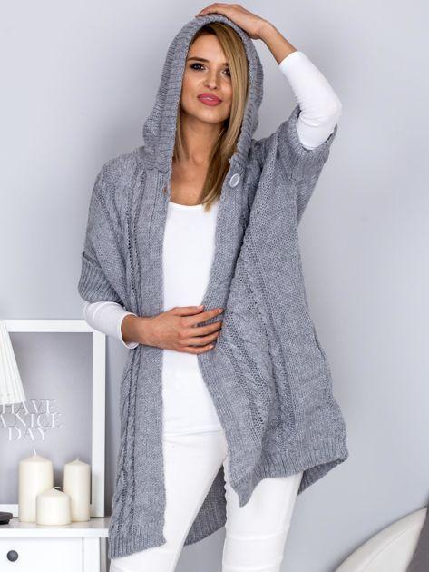 Otwarty sweter z warkoczowym wzorem i kapturem jasnoszary                                  zdj.                                  6