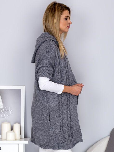 Otwarty sweter z warkoczowym wzorem i kapturem szary                              zdj.                              3