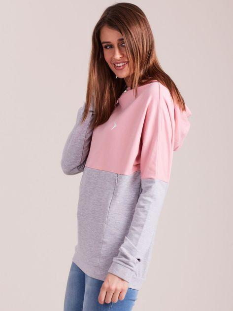 Outhorn Szaro-różowa bluza z kapturem i kieszeniami                              zdj.                              3