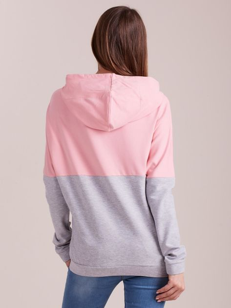 Outhorn Szaro-różowa bluza z kapturem i kieszeniami                              zdj.                              2