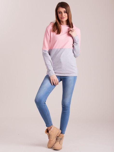 Outhorn Szaro-różowa bluza z kapturem i kieszeniami                              zdj.                              4