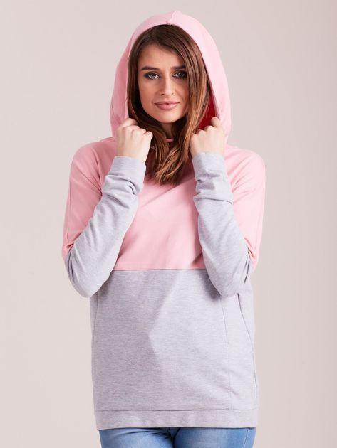 Outhorn Szaro-różowa bluza z kapturem i kieszeniami                              zdj.                              5