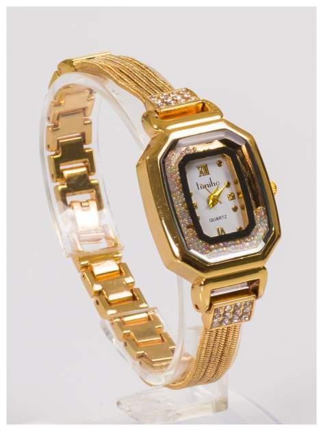 Ozdobny złoty damski zegarek z cyrkoniami na stalowej bransolecie z łańcuszkami                                  zdj.                                  2