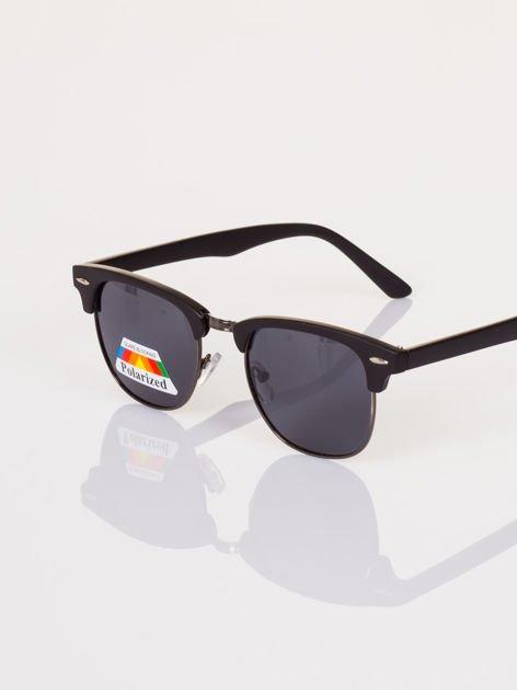 POLARYZACJA Czarne okulary przeciwsłoneczne typu CLUBMASTER MAT TYTAN