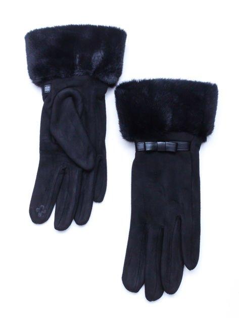 PREMIUM Dotykowe eleganckie zamszowe czarne rękawiczki damskie