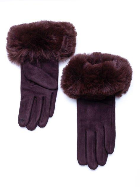 PREMIUM Eleganckie zamszowe brązowe rękawiczki damskie