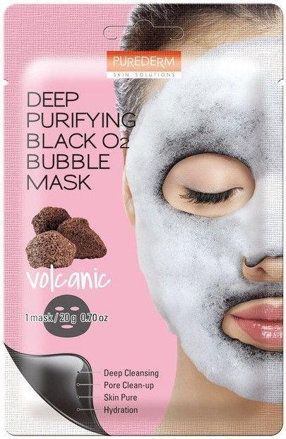 PUREDERM Głęboko oczyszczająca maseczka bąbelkująca (bubble mask) z pyłem wulkanicznym 20 g