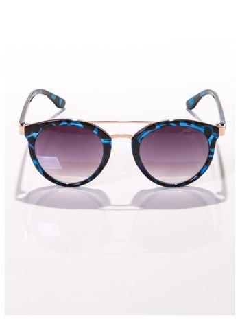 Pantera czarno-niebieskie okulary przeciwsłoneczne w stylu vintage