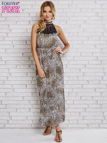 Panterkowa sukienka maxi z koronkowym półgolfem                                  zdj.                                  4