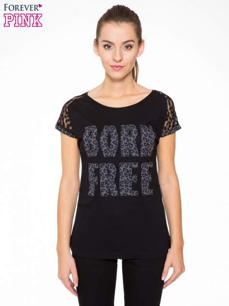 Panterkowy t-shirt z nadrukiem BORN FREE i koronkowymi rękawami