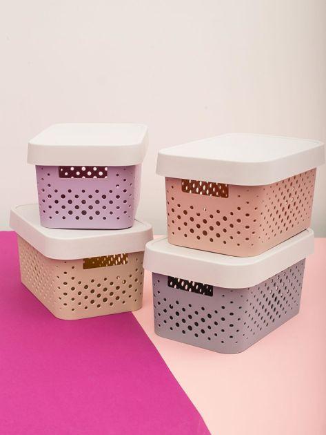 Pastelowe jasnoszare pudełko do przechowywania z pokrywką                              zdj.                              6