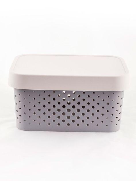 Pastelowe jasnoszare pudełko do przechowywania z pokrywką                              zdj.                              4