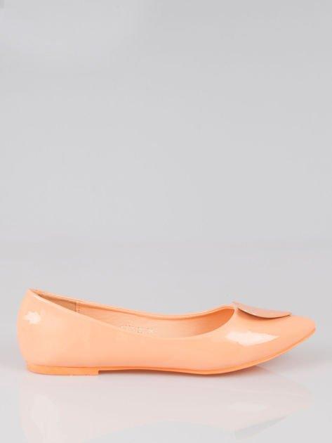 Pastelowopomarańczowe baleriny Dazzle Love z sercem