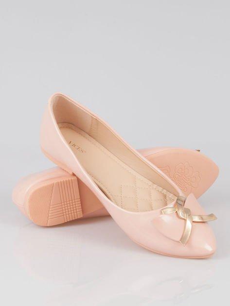 Pasteloworóżowe baleriny Gimmie Love ze złotym detalem                                  zdj.                                  4