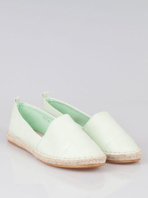 Pastelowozielone klasyczne espadryle cap toe