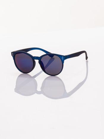 Piękne granatowe okulary przeciwsłoneczne w stylu vintage lustrzanki