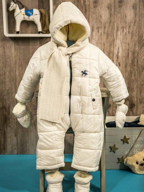 Pikowany zimowy kombinezon dziecięcy biały                              zdj.                              10