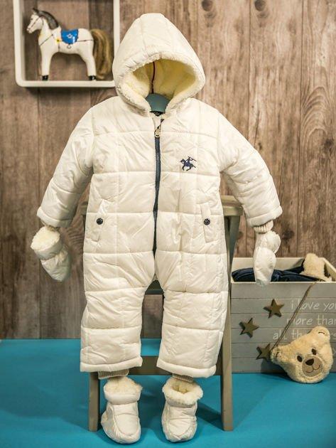 Pikowany zimowy kombinezon dziecięcy biały                              zdj.                              1