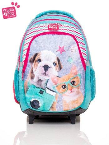 Plecak szkolny z rączką na kółkach z motywem STUDIO PETS