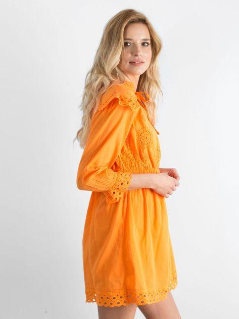 Pomarańczowa ażurowa sukienka
