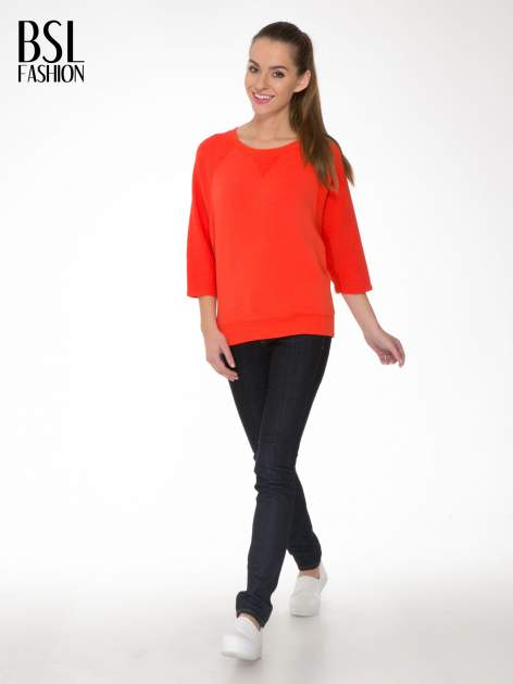 Pomarańczowa bluza oversize z łączonych materiałów                                  zdj.                                  2
