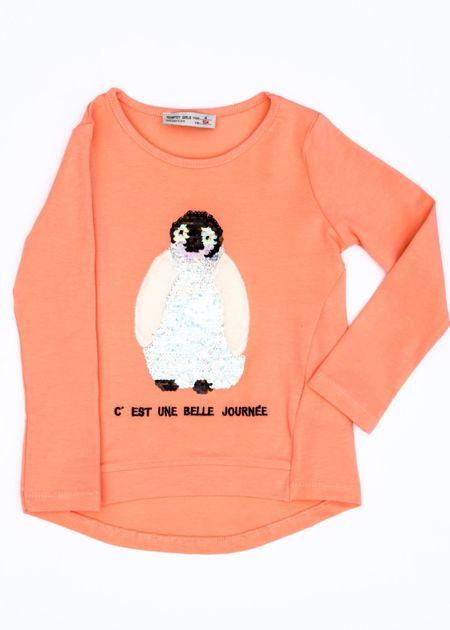 Pomarańczowa bluzka dla dziewczynki z pingwinem                              zdj.                              1