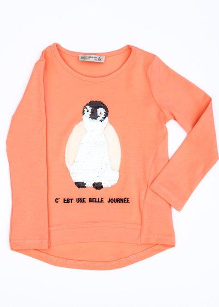 Pomarańczowa bluzka dla dziewczynki z pingwinem                              zdj.                              2