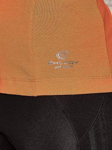 Pomarańczowa bluzka sportowa z dekoltem U                                  zdj.                                  4