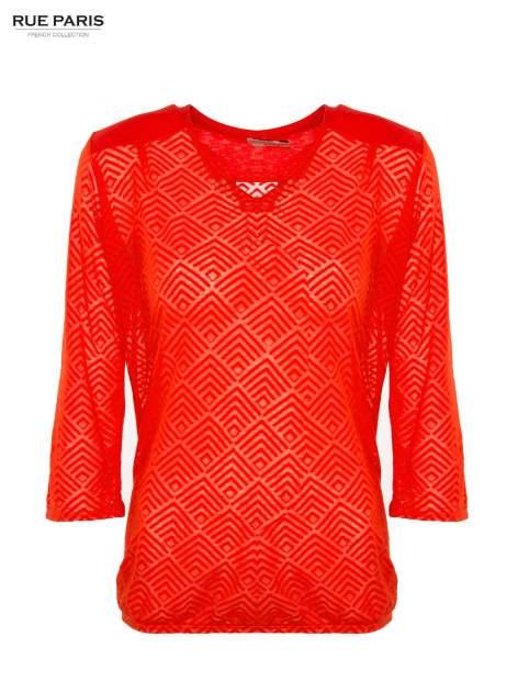 Pomarańczowa bluzka w geometryczny wzór z łezką z przodu                                  zdj.                                  2
