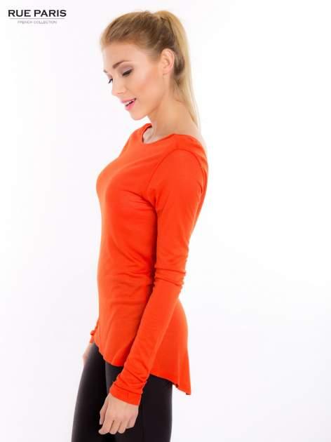 Pomarańczowa bluzka z dekoltem na plecach                                  zdj.                                  2